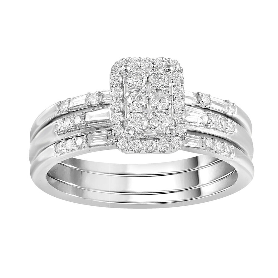 3 Piece Ring Set with 1/2 Carat TW of Diamonds in 10ct White Gold