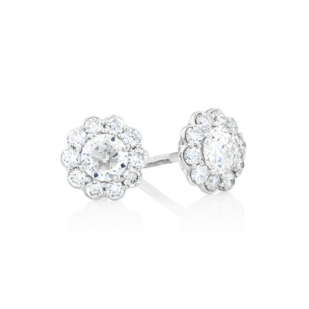 Halo Stud Earrings with 1 Carat TW of Diamonds in 14ct White Gold