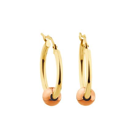 Ball Hoop Earrings in 10ct Yellow & Rose Gold
