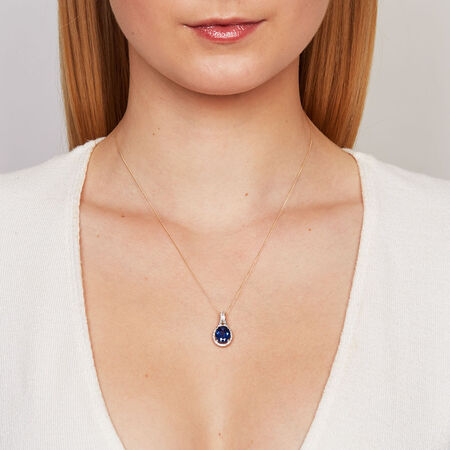Pendant with Created Sapphire & 0.15 Carat TW of Diamonds in 10ct Yellow & White Gold