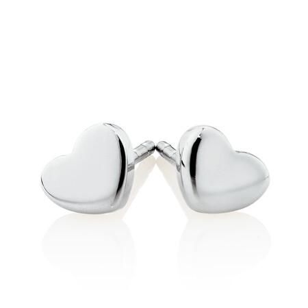 Heart Stud Earrings in 10ct White Gold
