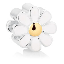 White Enamel, Sterling Silver & 10ct Yellow Gold Daisy Charm