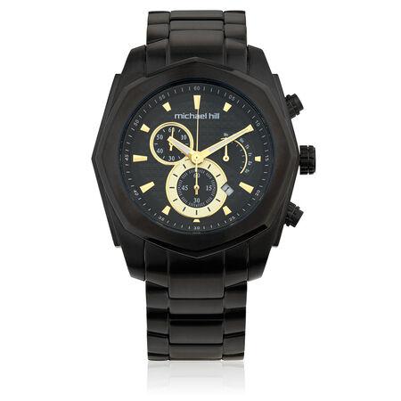 Men's Multi-function Watch in Black Stainless Steel