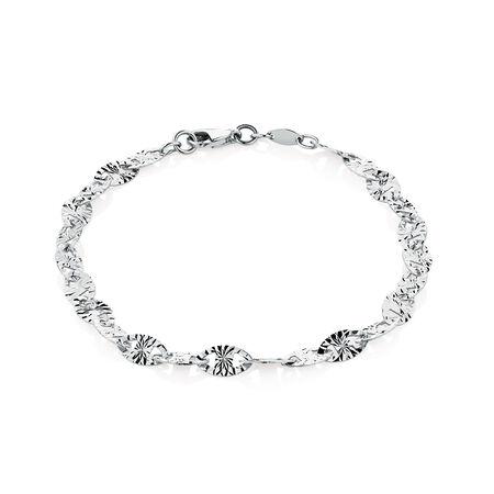 "19cm (7.5"") Patterned Bracelet in 10ct White Gold"
