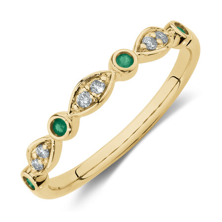 Stacker Ring with Natural Emerald & Diamonds in 10ct Yellow Gold