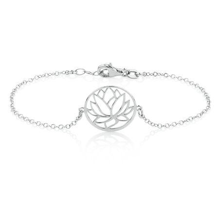 Lotus Flower Bracelet in Sterling Silver