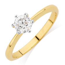Online Exclusive - Solitaire Engagement Ring with a 1/2 Carat Diamond in 18ct Yellow & White Gold