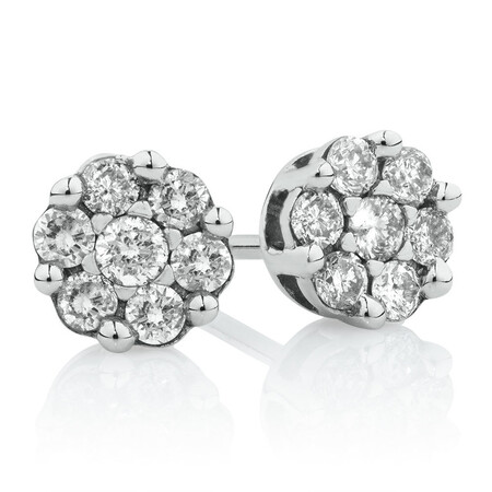 Cluster Stud Earrings with 0.33 Carat TW of Diamonds in 10ct White Gold