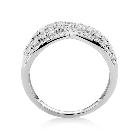 Crossover Ring With 1.25 Carat TW of Diamonds In 10ct White Gold