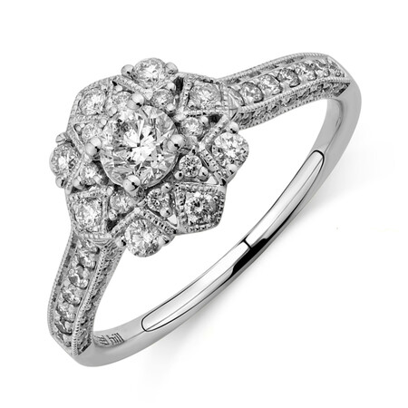 Engagement Ring with 0.75 Carat TW of Diamonds in 14ct White Gold