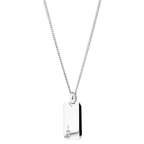 Dog Tag with Diamonds in Sterling Silver