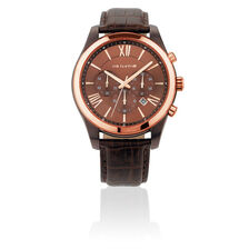 Men's Chronograph Watch in Leather & Rose Tone Stainless Steel