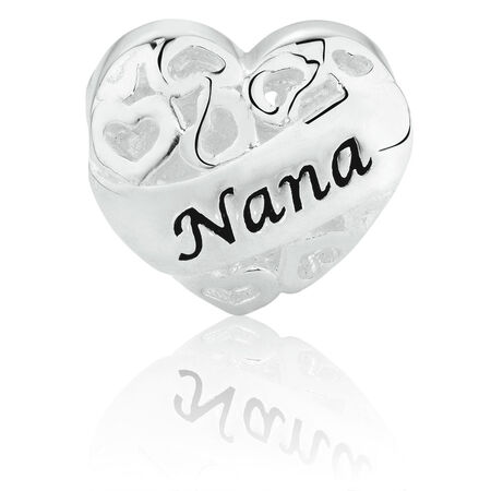 Nana'/'Grandma' Heart Charm in Sterling Silver