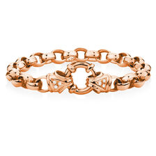 Diamond Set Belcher Bracelet in 10ct Rose Gold