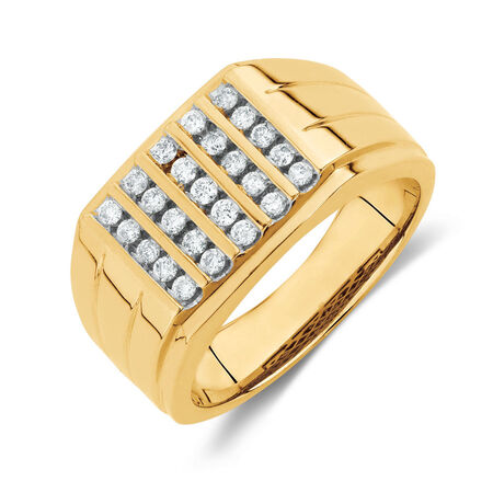 Men's Ring with 0.45 Carat TW of Diamonds in 10ct Yellow Gold