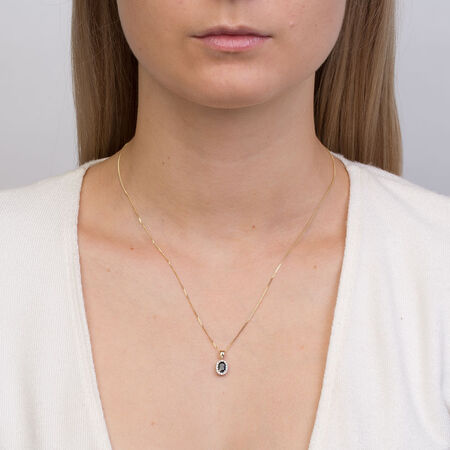 Pendant with Sapphire & Diamonds in 10ct Yellow & White Gold