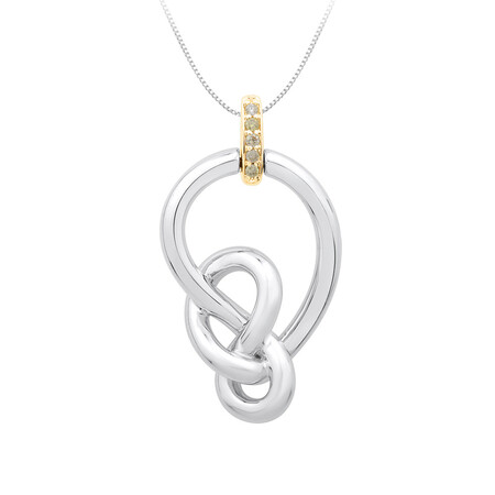 Knots Pendant with Diamonds in Sterling Silver & 10ct Yellow Gold
