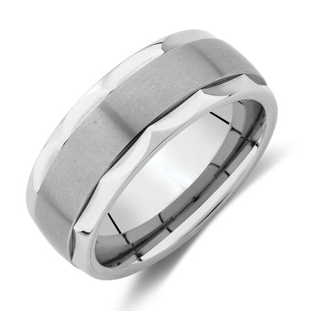 8.5mm Patterned Ring in White Tungsten