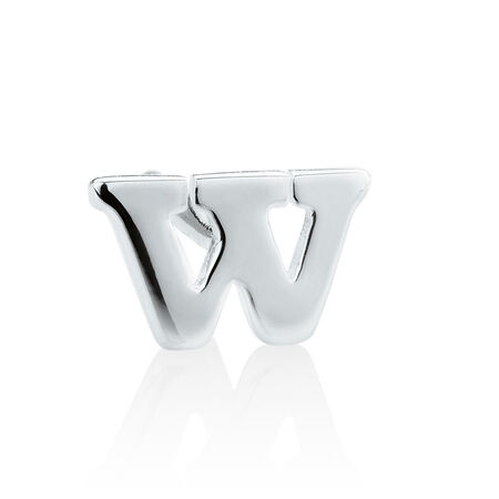 """W"" Initial Stud Earring in Sterling Silver"