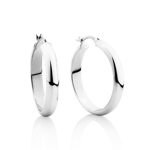 30mm Round Hoop Earrings in Sterling Silver