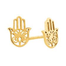 Hamsa Hand Stud Earrings in 10ct Yellow Gold