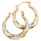 Hoop Earrings in 10ct Yellow & White Gold