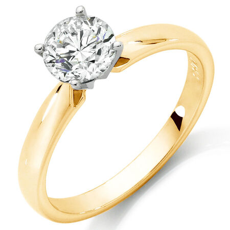 Solitaire Engagement Ring with 1 Carat Diamond in 14ct Yellow & White Gold