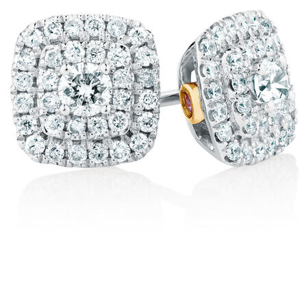 Michael Hill Designer Arpeggio Stud Earrings with 1/2 Carat TW of Diamonds in 14ct White & Rose Gold