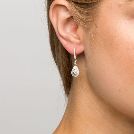 Michael Hill Designer Arpeggio Drop Earrings with 1/2 Carat TW of Diamonds in 14ct White & Rose Gold