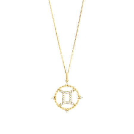 Gemini Zodiac Pendant with 0.20 Carat TW of Diamonds in 10ct Yellow Gold
