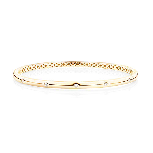 Hammer Set Bangle With 0.15 Carat TW Diamonds In 10ct Yellow Gold