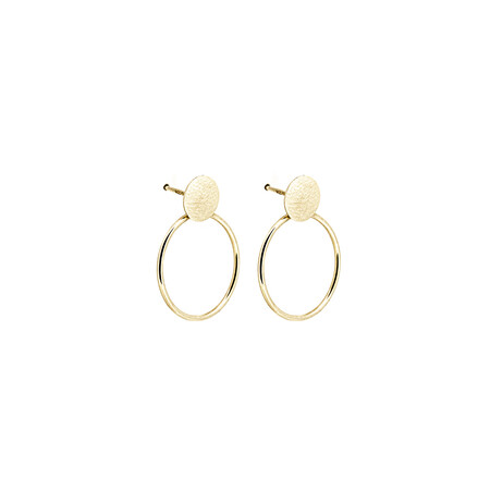 Circle Stud Drop Earrings in 10ct Yellow Gold