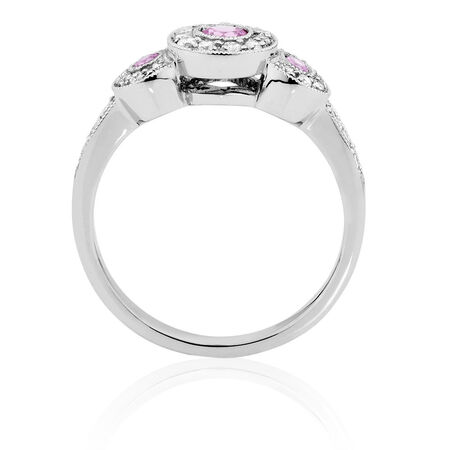 Ring with Pink Sapphire & 1/4 Carat TW of Diamonds in 10ct White Gold