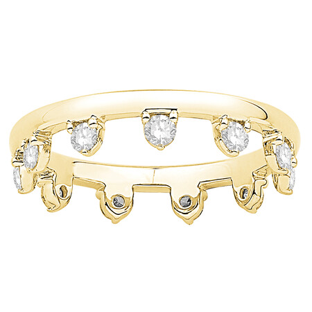Zipper Ring with 0.37 Carat TW of Diamonds in 10ct Yellow Gold