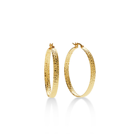 Flat Round Hoops in 10ct Yellow Gold