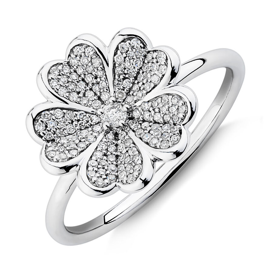 Flower Ring with 0.25 Carat TW of Diamonds in Sterling Silver