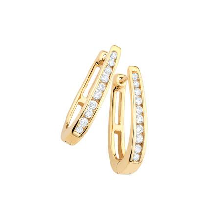 Hoop Earrings with 0.33 Carat TW of Diamonds in 10ct Yellow Gold