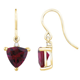 Drop Earrings with Created Ruby & Diamond in 10ct Yellow Gold