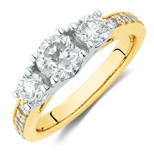 Three Stone Engagement Ring with 1 1/2 Carat TW of Diamonds in 14ct Yellow & White Gold