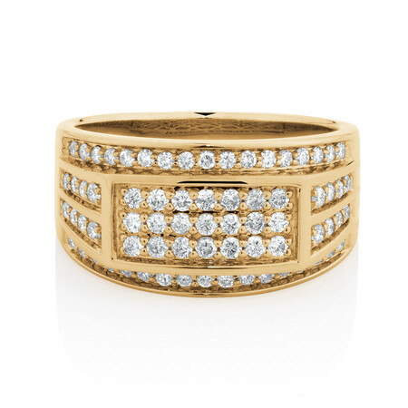 Men's Ring with 0.95 Carat TW of Diamonds in 10ct Yellow Gold