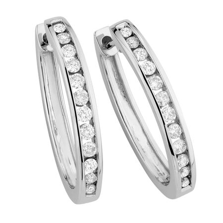 Hoop Earrings with 0.45 Carat TW of Diamonds in 10ct White Gold