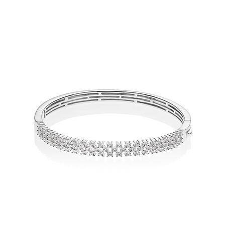 Three Row Bangle with White Cubic Zirconia in Sterling Silver