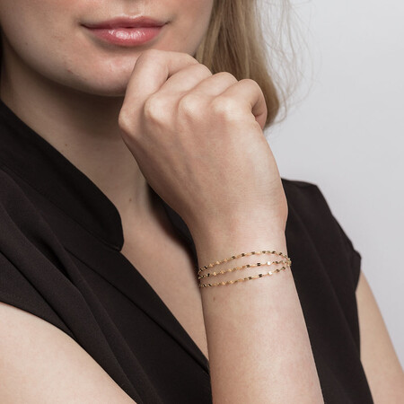 Triple Strand Adjustable Bolo Bracelet in 10ct Yellow Gold