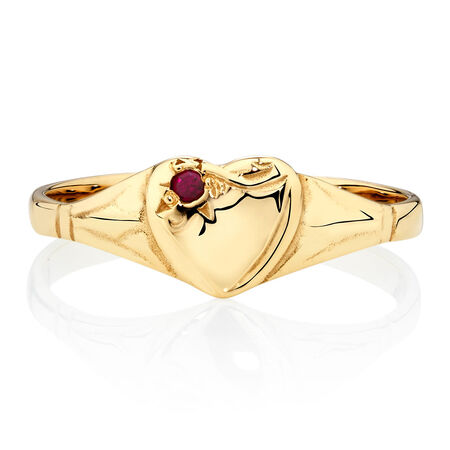 Signet Ring with a Red Cubic Zirconia in 10ct Yellow Gold