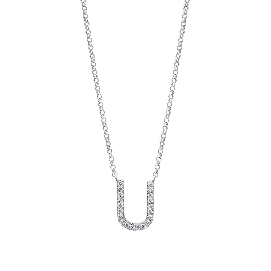 """""""U"""" Initial necklace with 0.10 Carat TW of Diamonds in 10ct White Gold"""