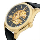 Men's Watch in Gold Tone Stainless Steel and Leather