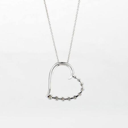 Online Exclusive - Heart Pendant with 1/4 Carat Total Weight of Diamonds in 10ct White Gold