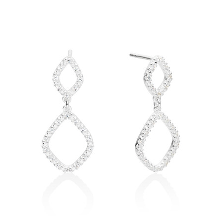 Organic Shape Drop Earrings with Cubic Zirconia in Sterling Silver