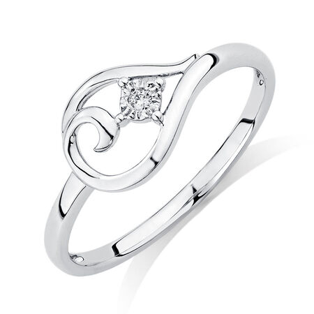 Ring with Diamond in 10ct White Gold