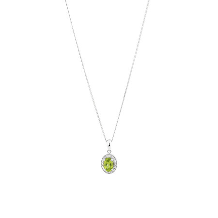Halo Pendant with Peridot and 0.04 TW of Diamonds in Sterling Silver